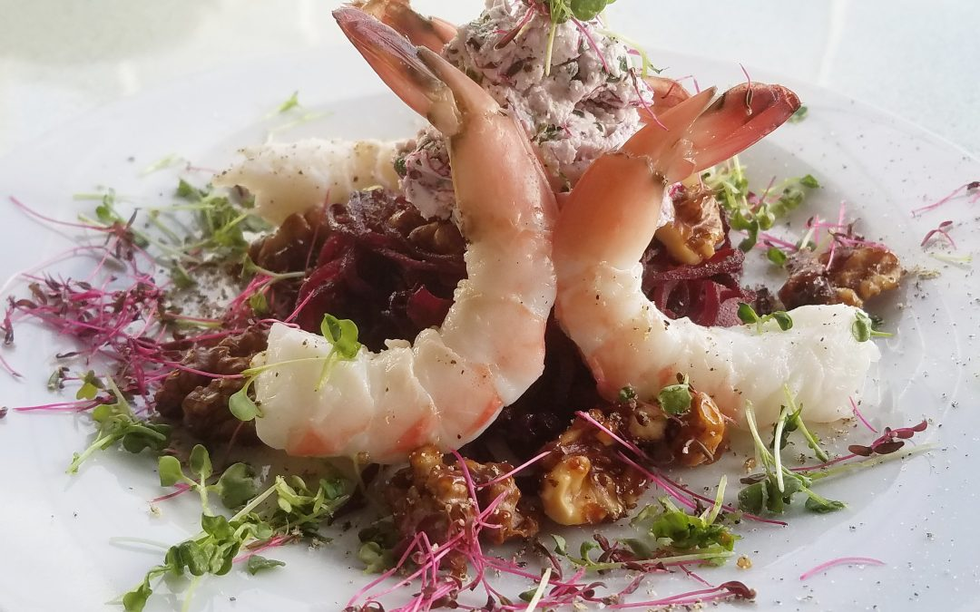 Gluten-Free Shrimp with Amaranth & Arugula Goat Cheese